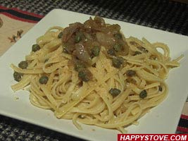 Anchovy and Onion Spaghetti - By happystove.com