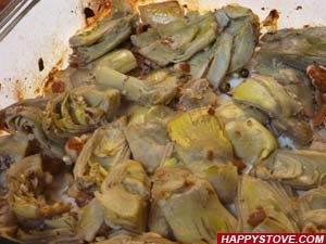 Artichoke Hearts with Almonds and Green Peppercorn