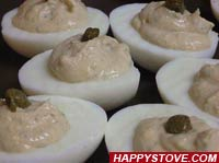 Tuna and Capers Deviled Eggs - By happystove.com
