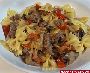 Farfalle Pasta with Sausages, Mushrooms and Red Bell Peppers