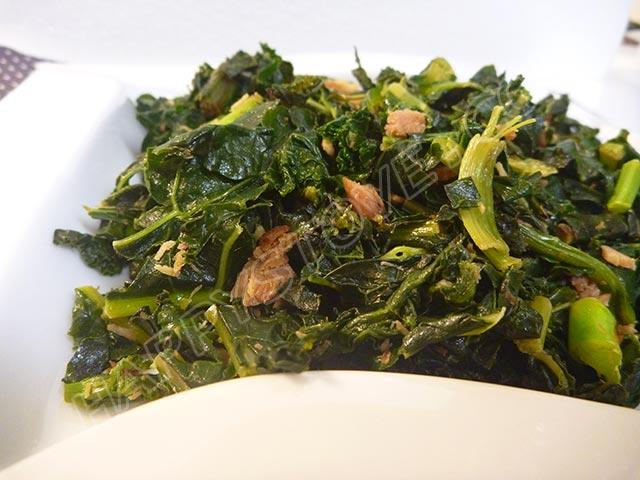 Stir Fried Kale with Cubed Ham
