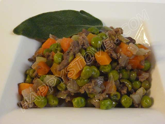 Peas, Carrots and Ground Beef with Sage Leaves